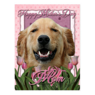 Día de madres - tulipanes rosados - golden retriev tarjetas postales