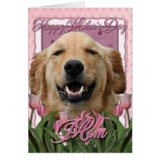 Día de madres - tulipanes rosados - golden tarjeta de felicitación