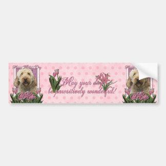 Día de madres - tulipanes rosados - Goldendoodle Pegatina De Parachoque