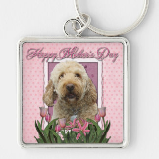 Día de madres - tulipanes rosados - Goldendoodle Llavero Cuadrado Plateado