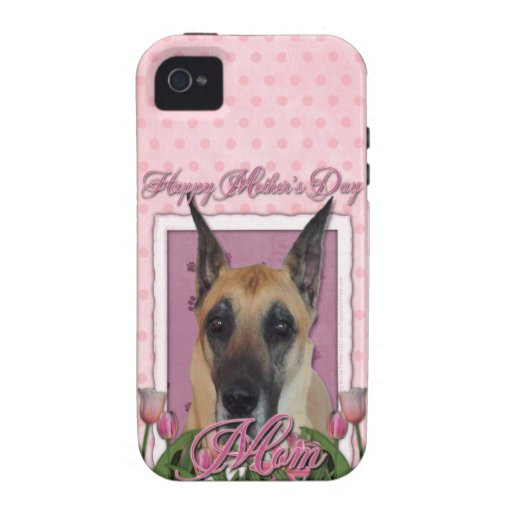 Día de madres - tulipanes rosados - great dane Case-Mate iPhone 4 fundas