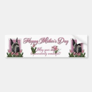 Día de madres - tulipanes rosados - great dane - g pegatina para auto