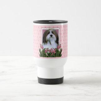 Día de madres - tulipanes rosados - Havanese Tazas De Café