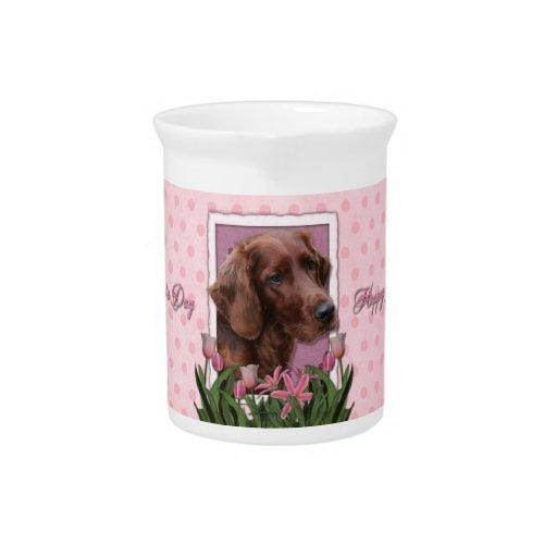 Día de madres - tulipanes rosados - Irish Setter Jarra