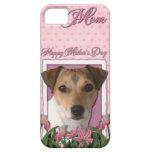 Día de madres - tulipanes rosados - Jack Russell iPhone 5 Cárcasa