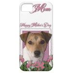 Día de madres - tulipanes rosados - Jack Russell iPhone 5 Carcasa