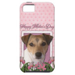 Día de madres - tulipanes rosados - Jack Russell iPhone 5 Case-Mate Cárcasas