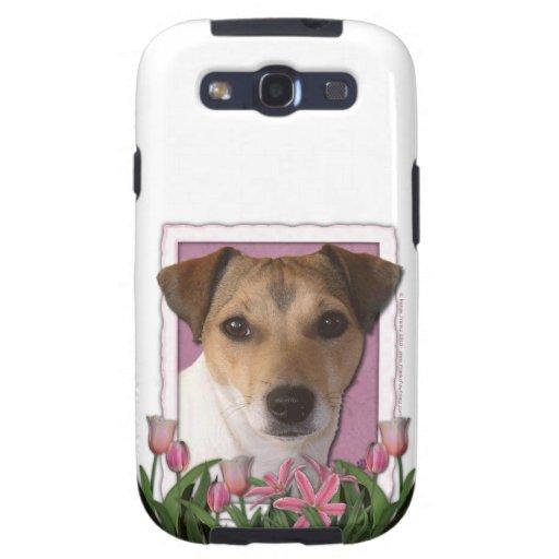 Día de madres - tulipanes rosados - Jack Russell Galaxy S3 Fundas