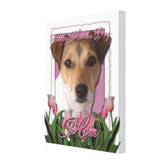 Día de madres - tulipanes rosados - Jack Russell Impresión En Lona