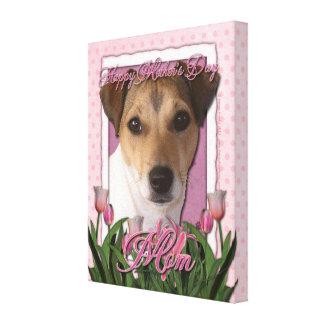 Día de madres - tulipanes rosados - Jack Russell Impresiones En Lona Estiradas