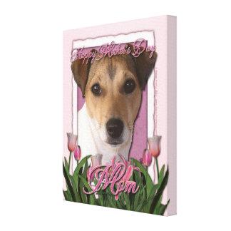 Día de madres - tulipanes rosados - Jack Russell Impresión En Lona Estirada