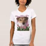 Día de madres - tulipanes rosados - Jack Russell Camisetas