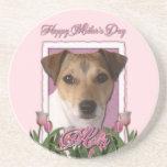 Día de madres - tulipanes rosados - Jack Russell Posavasos Personalizados