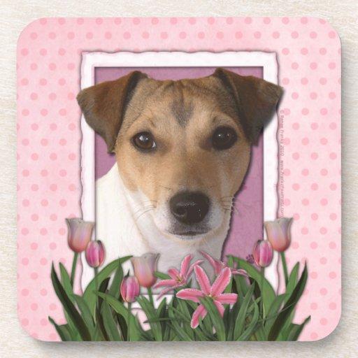 Día de madres - tulipanes rosados - Jack Russell Posavasos De Bebidas