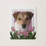 Día de madres - tulipanes rosados - Jack Russell Rompecabeza Con Fotos