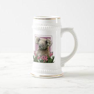 Día de madres - tulipanes rosados - koala jarra de cerveza