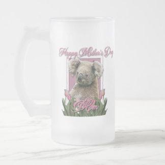 Día de madres - tulipanes rosados - koala taza de cristal