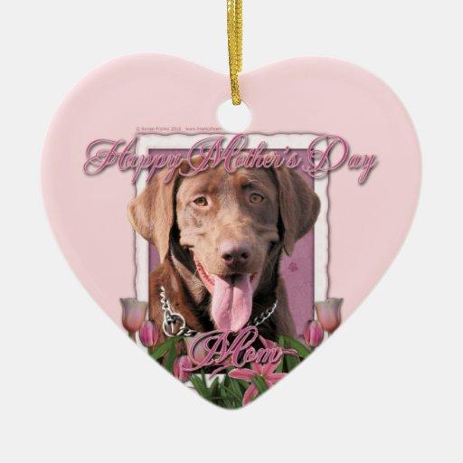 Día de madres - tulipanes rosados - Labrador - Adorno De Cerámica En Forma De Corazón