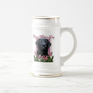Día de madres - tulipanes rosados - Labrador - Jarra De Cerveza
