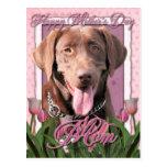 Día de madres - tulipanes rosados - Labrador - Postal
