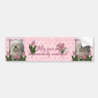 Día de madres - tulipanes rosados - Lowchen Etiqueta De Parachoque