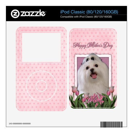Día de madres - tulipanes rosados - maltés iPod classic skins