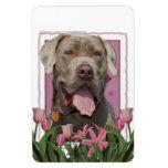 Día de madres - tulipanes rosados - mastín - fisgó iman rectangular