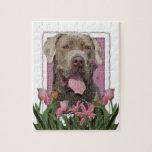 Día de madres - tulipanes rosados - mastín - fisgó puzzle