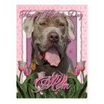 Día de madres - tulipanes rosados - mastín - fisgó postal