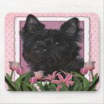 Día de madres - tulipanes rosados - mojón Terrier  Tapetes De Ratones