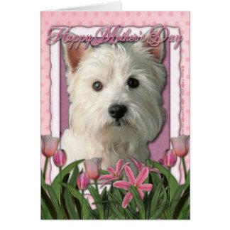 Día de madres - tulipanes rosados - montaña del tarjeta de felicitación