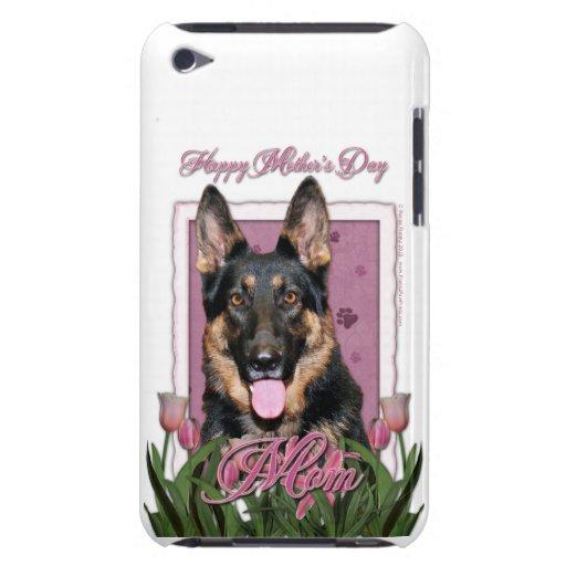 Día de madres - tulipanes rosados - pastor alemán  iPod touch Case-Mate carcasas