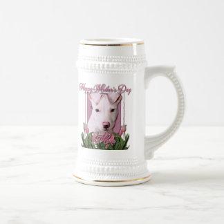 Día de madres - tulipanes rosados - perrito de jarra de cerveza