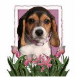 Día de madres - tulipanes rosados - perrito del be esculturas fotográficas