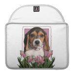Día de madres - tulipanes rosados - perrito del be fundas macbook pro
