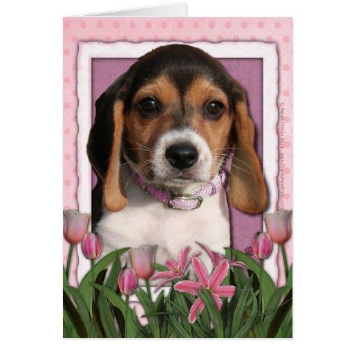 Día de madres - tulipanes rosados - perrito del tarjeta de felicitación