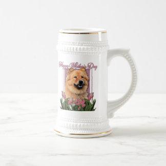 Día de madres - tulipanes rosados - perro chino de jarra de cerveza