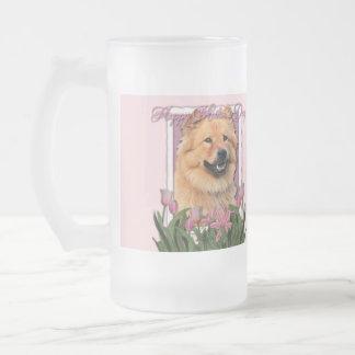 Día de madres - tulipanes rosados - perro chino de taza de cristal