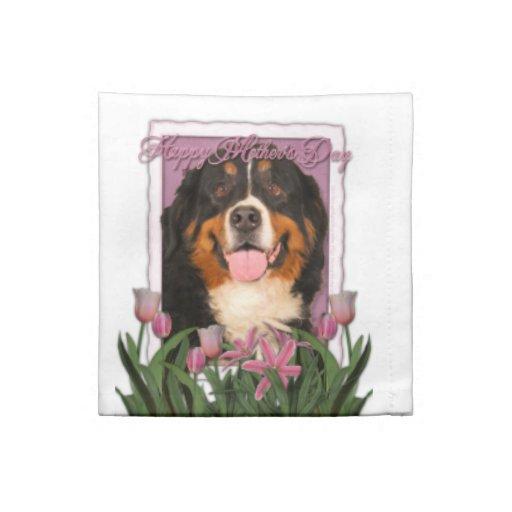 Día de madres - tulipanes rosados - perro de monta servilletas
