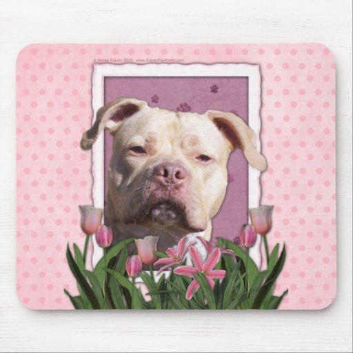 Día de madres - tulipanes rosados - Pitbull - chic Mouse Pad
