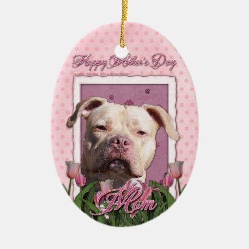 Día de madres - tulipanes rosados - Pitbull - Adorno Ovalado De Cerámica