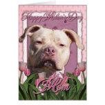 Día de madres - tulipanes rosados - Pitbull - Tarjeta De Felicitación