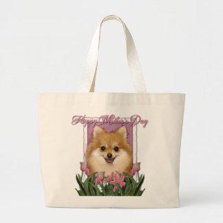 Día de madres - tulipanes rosados - Pomeranian Bolsa Tela Grande