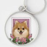 Día de madres - tulipanes rosados - Pomeranian Llaveros Personalizados