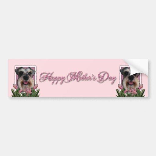 Día de madres - tulipanes rosados - Schnauzer Etiqueta De Parachoque