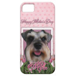 Día de madres - tulipanes rosados - Schnauzer iPhone 5 Case-Mate Cárcasa