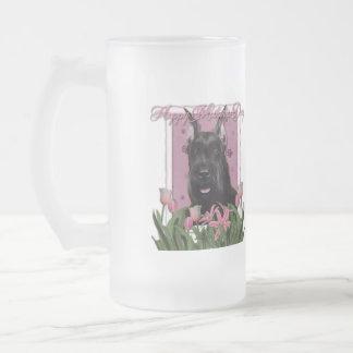 Día de madres - tulipanes rosados - Schnauzer Taza De Cristal