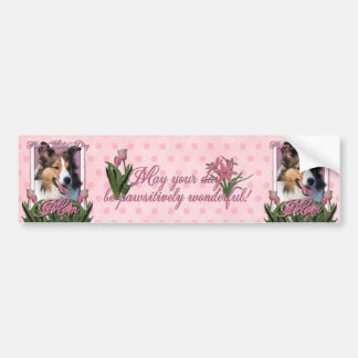 Día de madres - tulipanes rosados - Sheltie Pegatina De Parachoque
