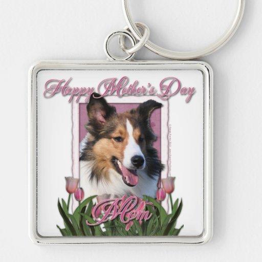 Día de madres - tulipanes rosados - Sheltie Llavero Cuadrado Plateado
