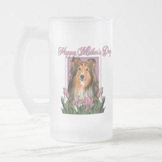 Día de madres - tulipanes rosados - Sheltie Taza De Cristal